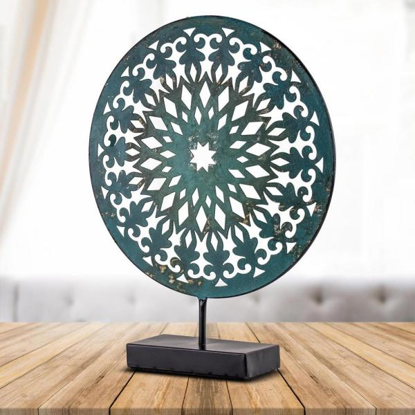 Crystal Art Gallery Turquoise Medallion Sculpture on Stand