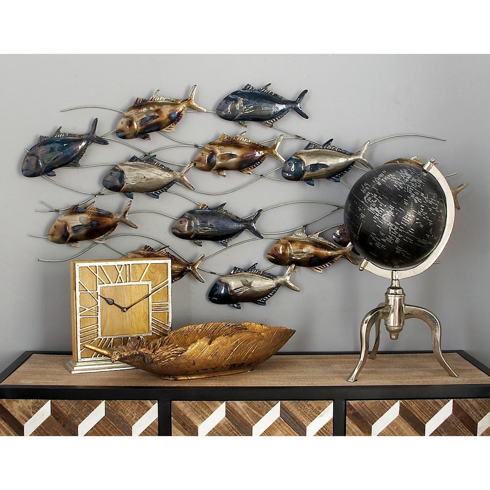 Litton Lane Iron Blue Brown And Silver Tuna Fish Wall Decor 53350