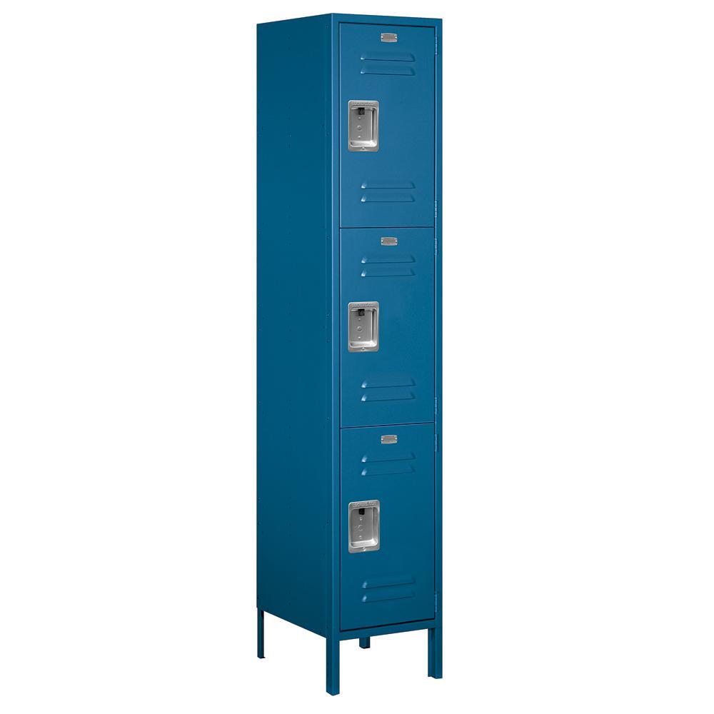 18-53000 Series 3 Compartments Triple Tier 18 In. W x 78 In. H x 18 In. D Metal Locker Assembled in Blue