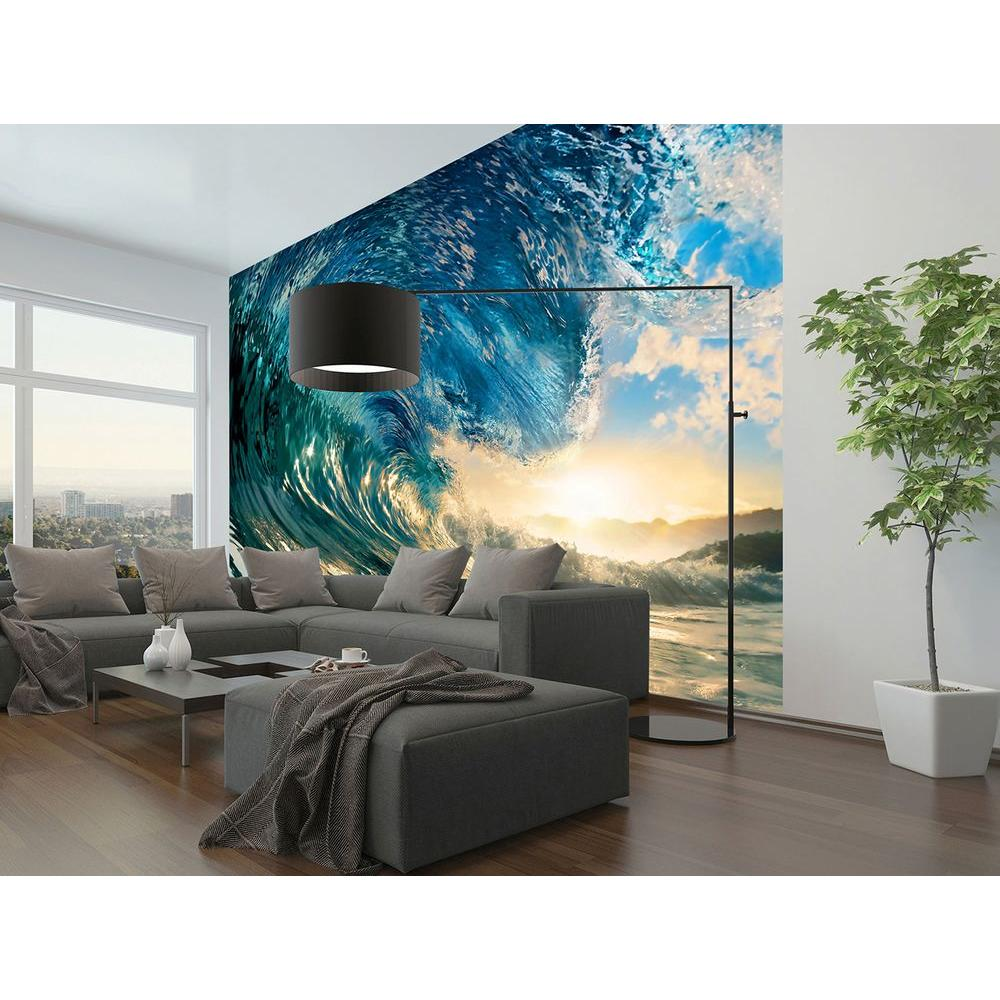 Ideal decor 144 in w x 100 in h the perfect wave wall for Beach mural for wall