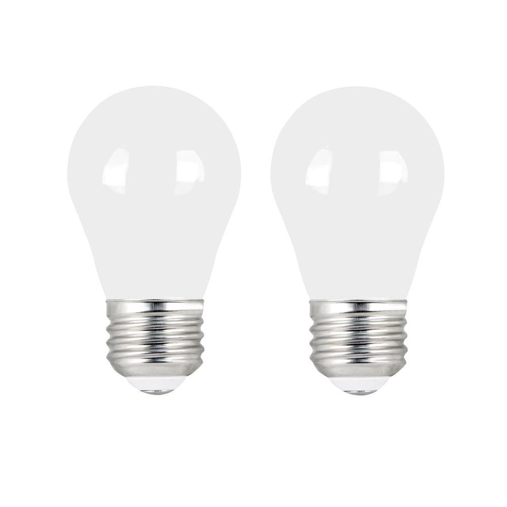 60-Watt Equivalent A15 Dimmable Filament CEC Title 20 90+ CRI White Glass LED Ceiling Fan Light Bulb Soft White (2-Pack)