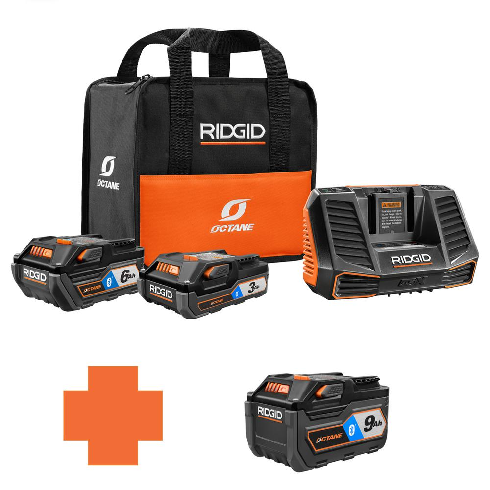 RIDGID 18-Volt OCTANE Battery and Charger Kit w/(1) 3.0 Ah, (1) 6.0 Ah Battery and Charger w/Bonus Bluetooth 9.0 Ah Battery