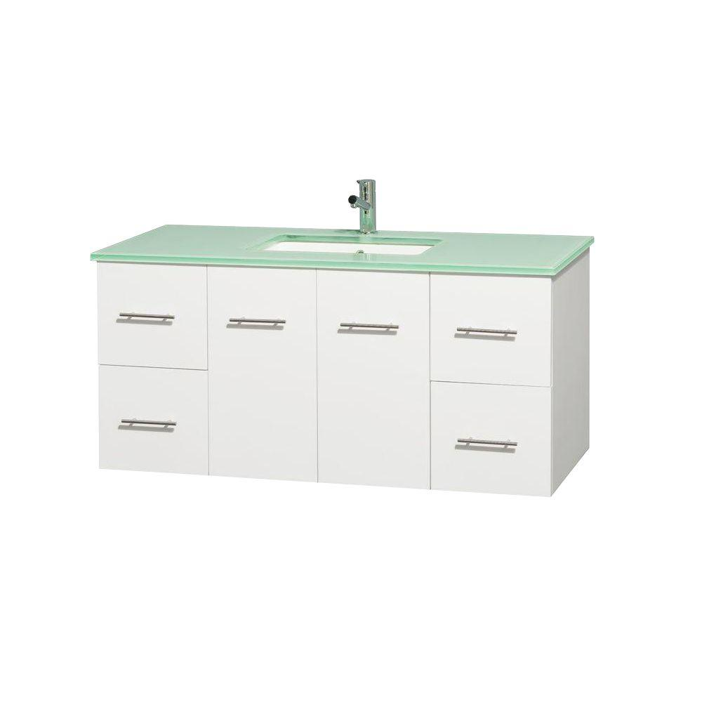 Wyndham Collection Centra 48 in. Vanity in White with Glass Vanity Top in Green and Undermount Square Sink