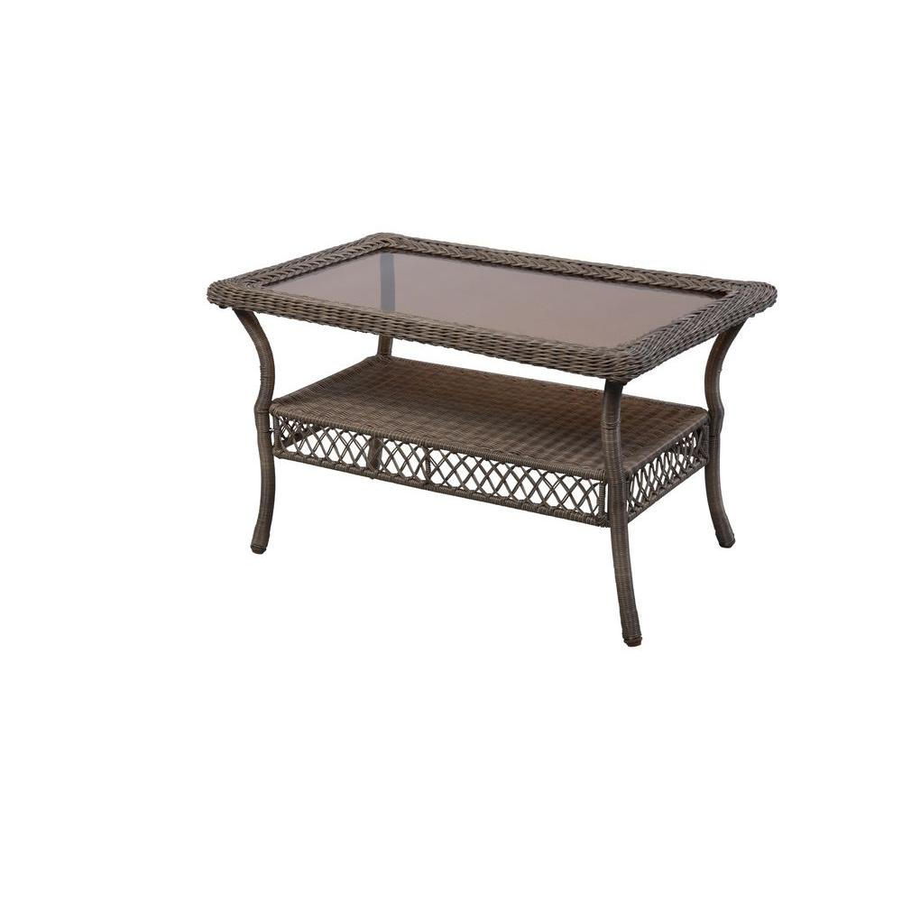 Coffee Table Patio Furniture: Hampton Bay Spring Haven Grey Wicker Outdoor Patio Coffee