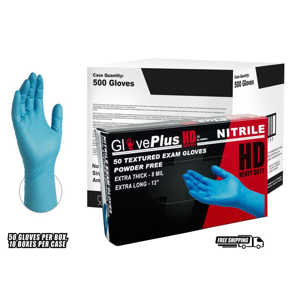 Medium 8 mm GlovePlus Blue Heavy Duty Nitrile Exam Powder Free Disposable Gloves (500-Case)