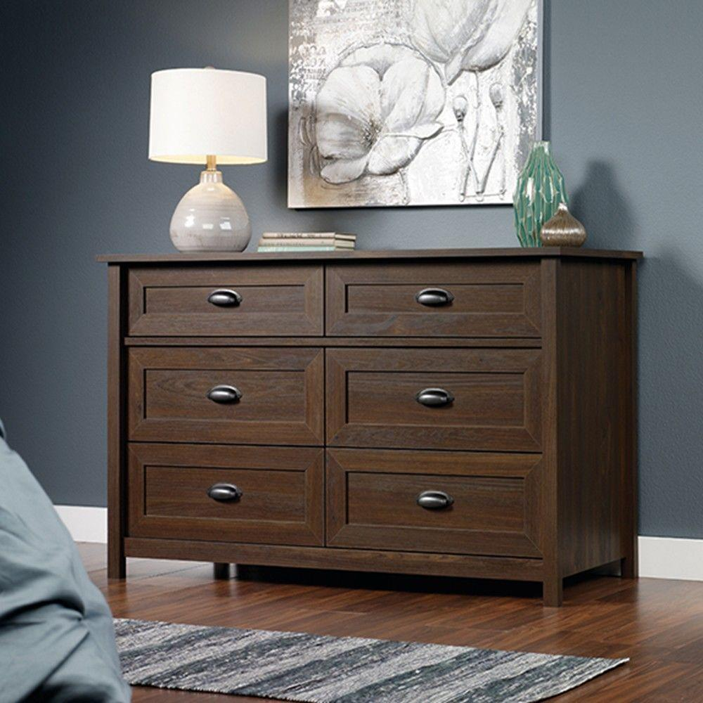 SAUDER Country Line 6-Drawer Rum Walnut Dresser