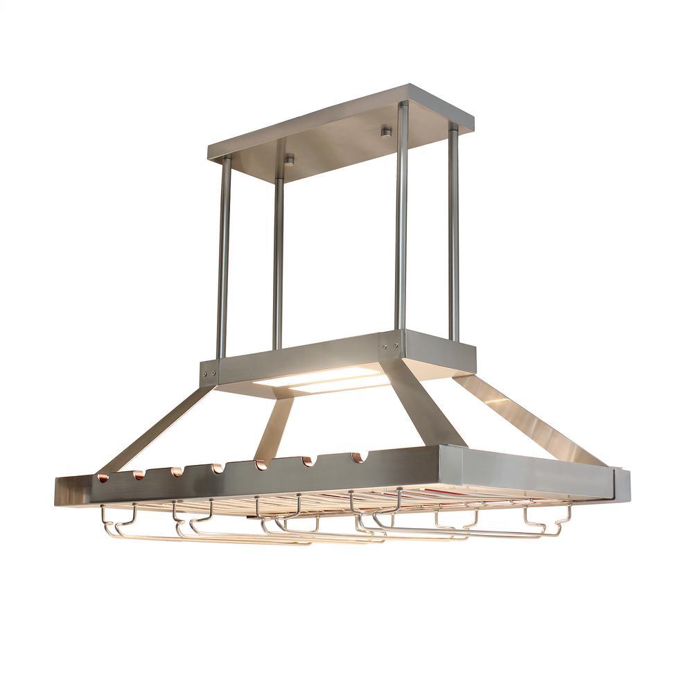 Elegant Designs 2 Light Brushed Nickel LED Overhead Wine Rack