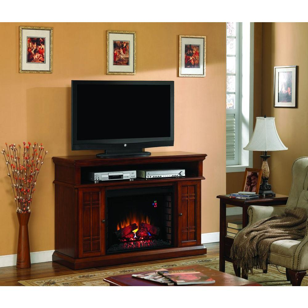 Hampton Bay Carmel 55 in. Media Console Electric Fireplace in Cherry