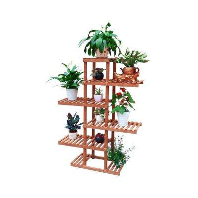 38 in. W x 11 in. D x 51 in. H Brown Wooden 5-Tier Pedestal Plant Stand