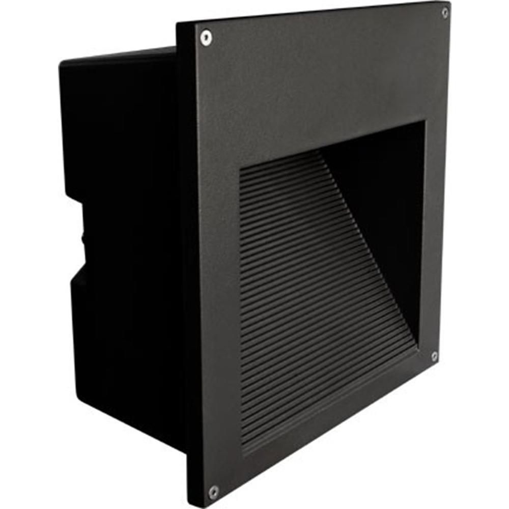 Ashler 1-Light Black Outdoor Large Recessed Step Light