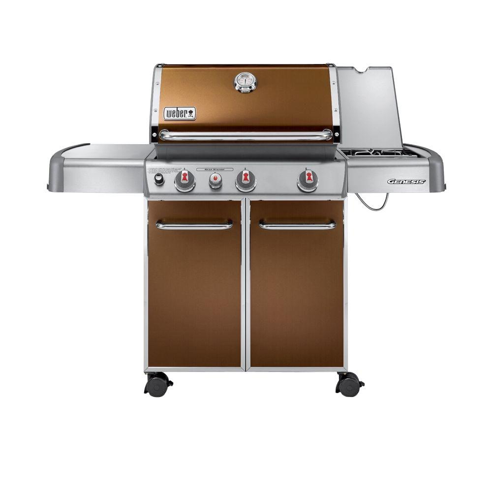 weber genesis e 330 3 burner propane gas grill in copper 6532001 the home depot. Black Bedroom Furniture Sets. Home Design Ideas