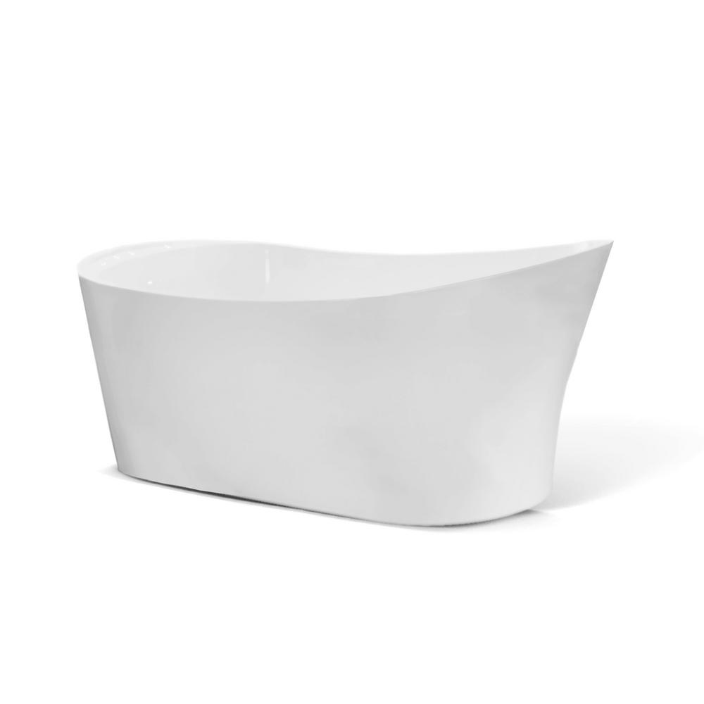 Seamless One Piece White Freestanding Tub With Rounded Deck Mounted Faucet