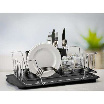 Contemporary 3-Piece Chrome Dish Rack