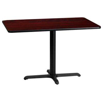 24 in. x 42 in. Rectangular Black and Mahogany Laminate Table Top with 22 in. x 30 in. Table Height Base