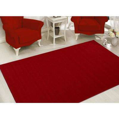 Clifton Collection Solid Design Red 5 ft. x 7 ft. Area Rug
