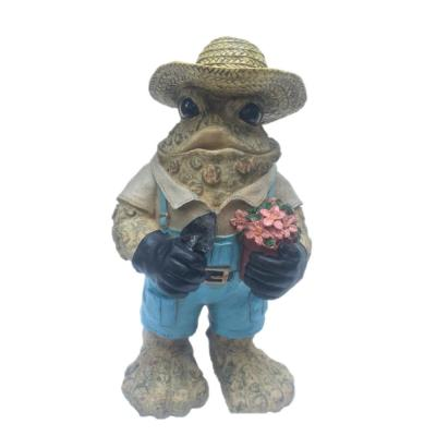 13 in. Gardener Toad with Plant and Shovel Collectible Home and Garden Frog Statue