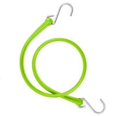 31 in. Polyurethane Bungee Strap with Stainless Steel S-Hooks (Overall Length: 36 in.) in Safety Green