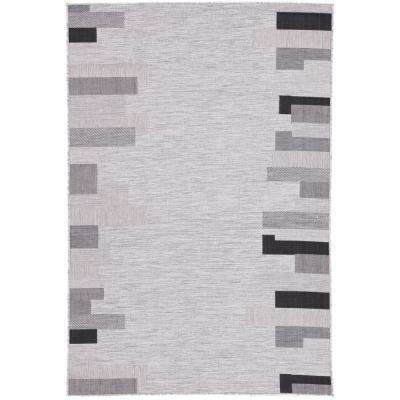 Decora by Nikki Chu Light Gray 2 ft. x 3 ft. 7 in. Geometric Rectangle Indoor-Outdoor Accent Rug
