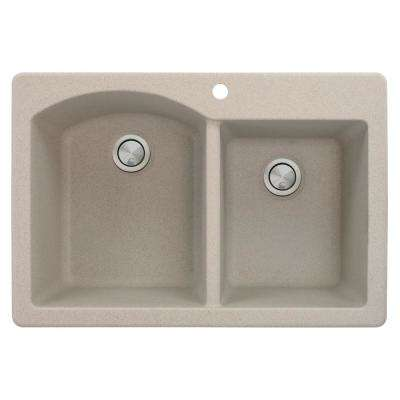 Aversa Drop-in Granite 33 in. 1-Hole 1-3/4 D-Shape Double Bowl Kitchen Sink in Cafe Latte