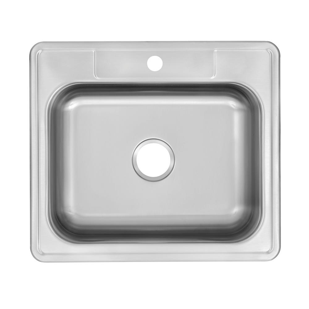 Glacier Bay Drop-In Stainless Steel 25 in. 1-Hole Single Bowl Kitchen Sink