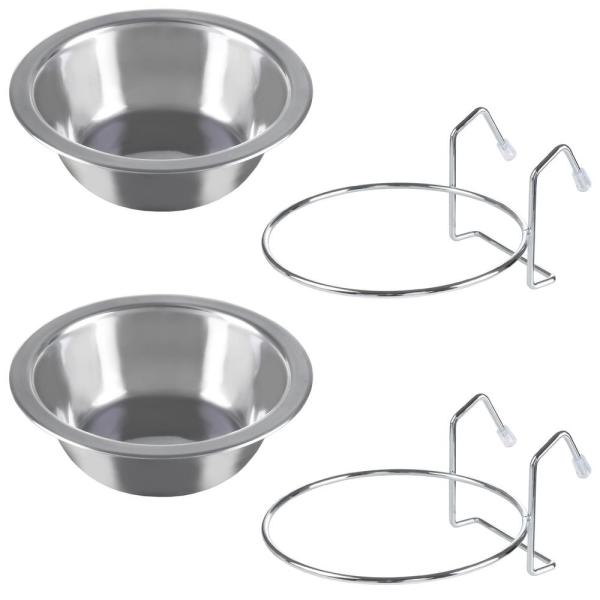 Stainless Steel Hanging Pet Bowls (2-Pack)
