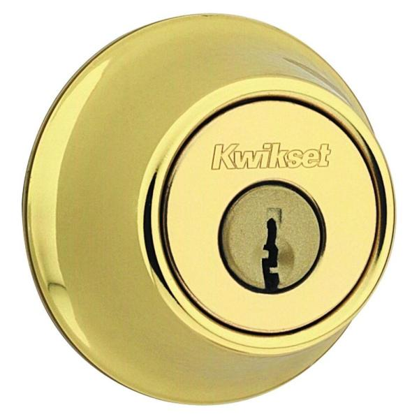 660 Series Polished Brass Single Cylinder Deadbolt with Microban Antimicrobial Technology