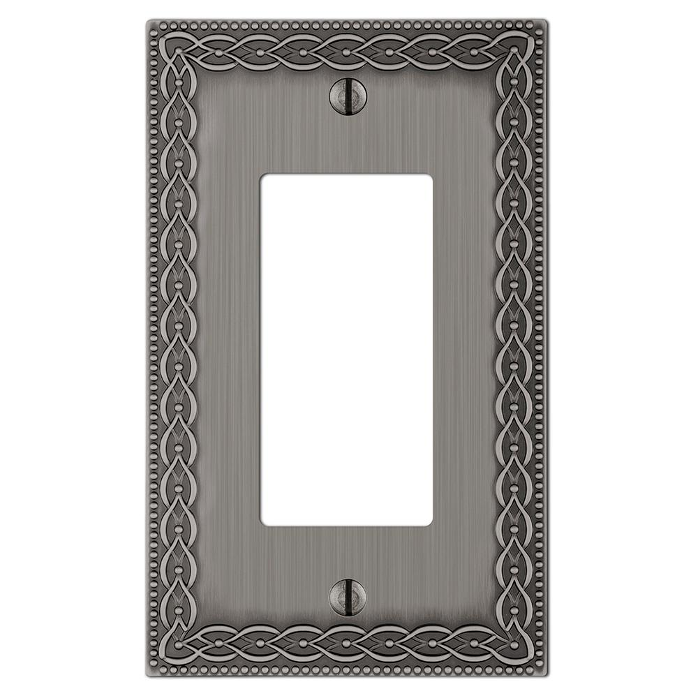 hamptonbay Hampton Bay Amelia Cast 1-Gang Decora Wall Plate, Antique Nickel