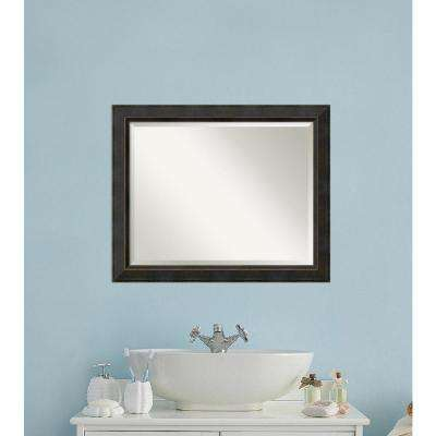 Signore Bronze Wood 33 in. W x 27 in. H Traditional Bathroom Vanity Mirror