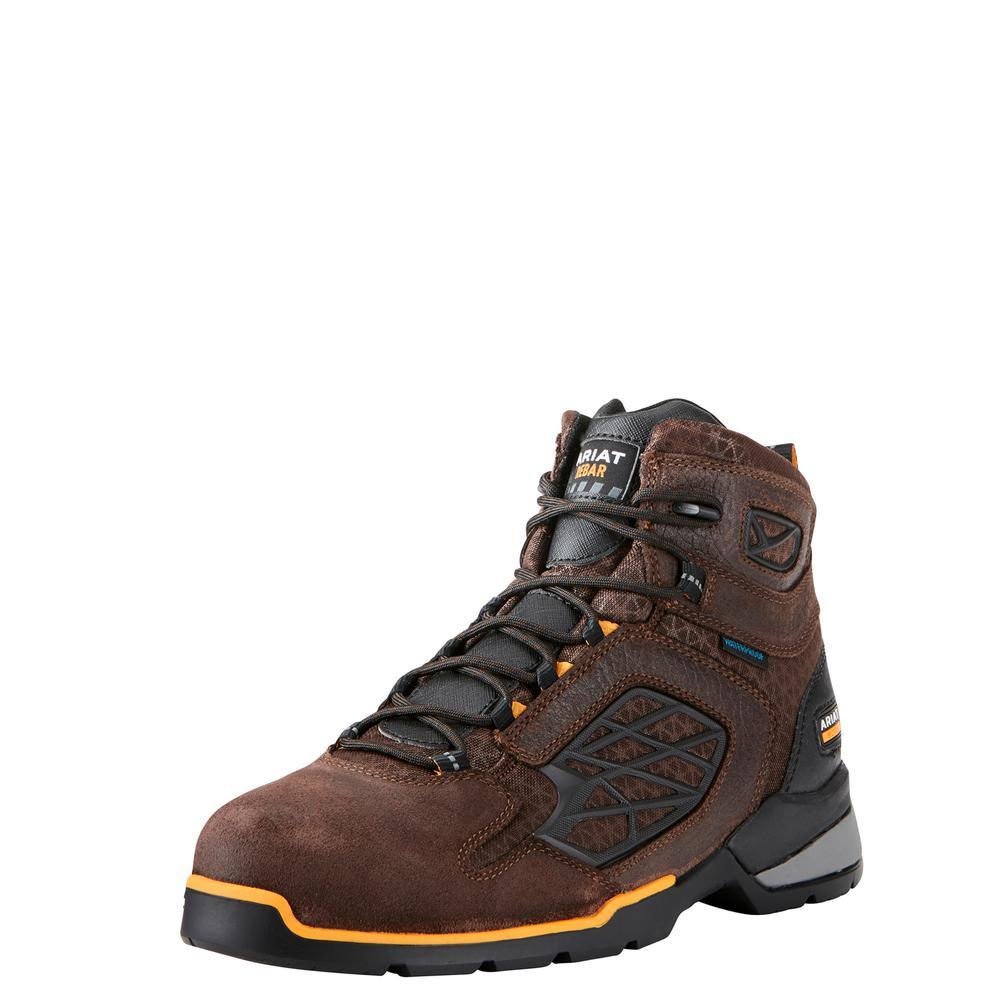 "Men's Size 10 EE Chocolate Brown Rebar Flex 6"" Waterproof Work Boot"