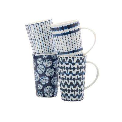 4-Piece Assorted Colors Shibori Mug