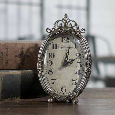 Silver Oval Table Clock