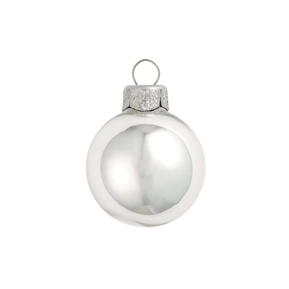 silver shiny glass christmas ornaments 12 pack - Glass Christmas Ornaments