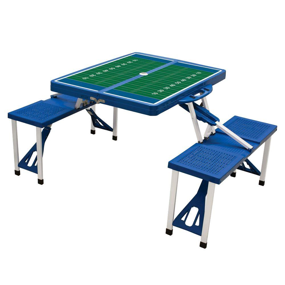 Picnic Time Royal Blue Sport Compact Patio Folding Picnic Table with Football Field Pattern