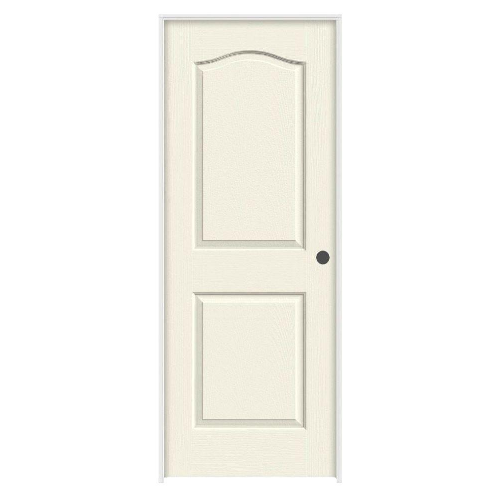28 in. x 80 in. Camden Vanilla Painted Left-Hand Textured Molded