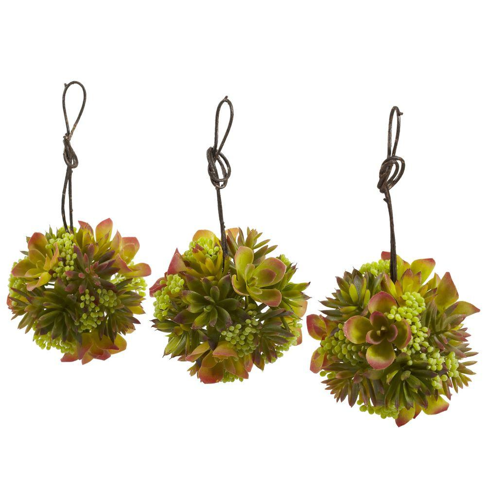 Nearly Natural 5 In. Mixed Succulent Hanging Spheres (Set