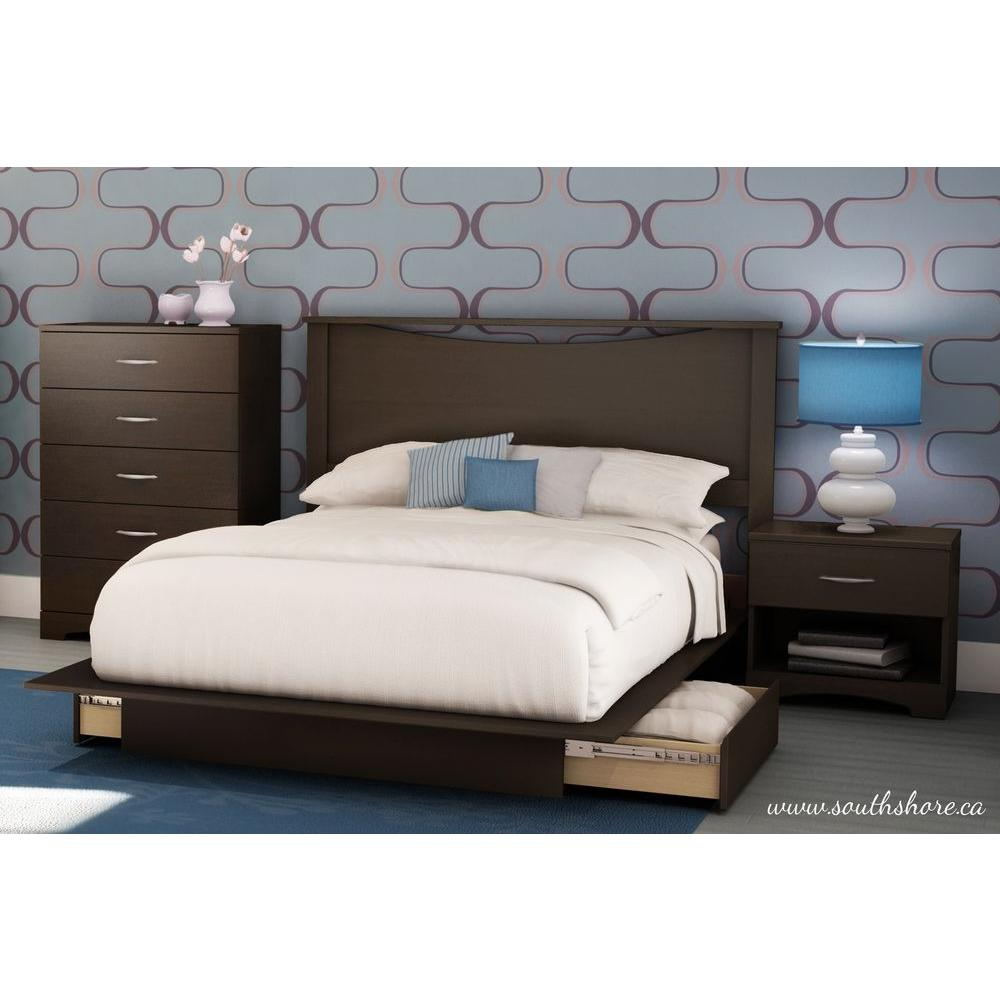 South Shore Step One 2 Drawer Chocolate Full/Queen Size Platform Bed