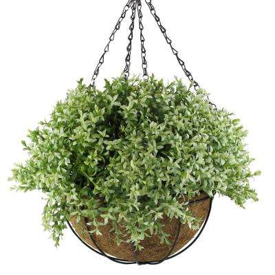 10 in. Artificial 2 Tone Green Foliage Hanging Basket