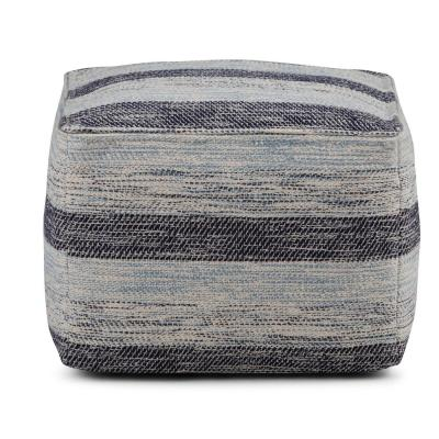 Clay Transitional Square Pouf in Patterned Blue Melange Cotton
