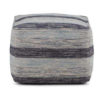 Clay Patterned Blue Melange Square Pouf