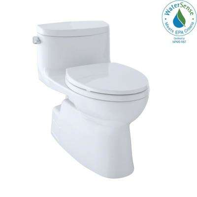 Carolina II 1-Piece 1.28 GPF Single Flush Elongated Skirted Toilet with CeFiONtect in Cotton White, Seat Included