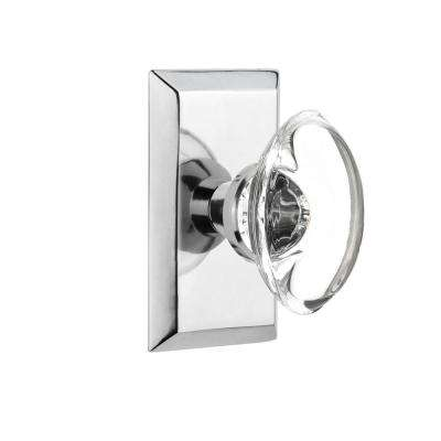 Studio Plate 2-3/4 in. Backset Bright Chrome Passage Hall/Closet Oval Clear Crystal Glass Door Knob