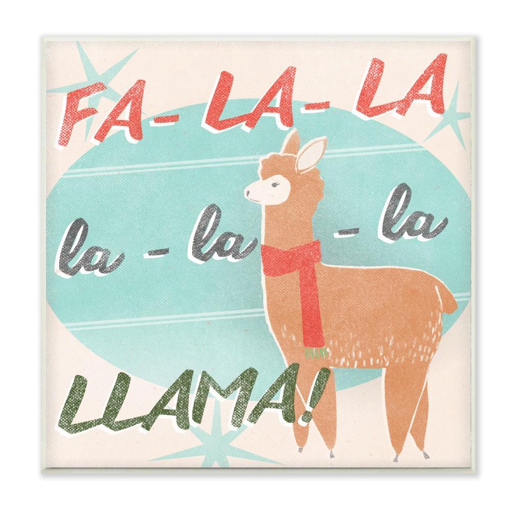 Christmas Llama.12 In X 12 In Holiday Christmas Fa La Llama With Scarf By Artist June Erica Vess Wood Wall Art