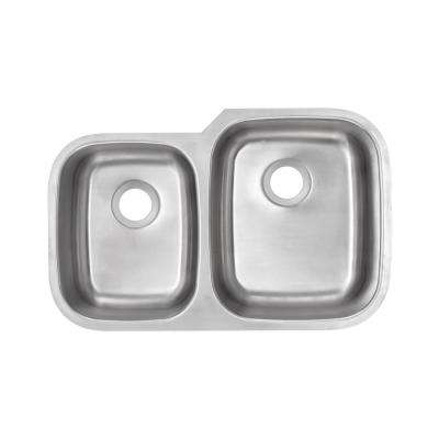 Undermount 18-Gauge Stainless Steel 32 in. 0-Hole 40/60 Double Bowl Kitchen Sink