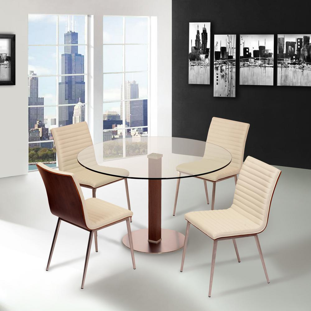 Cafe 34 in. White Faux Leather and Brushed Stainless Steel Dining