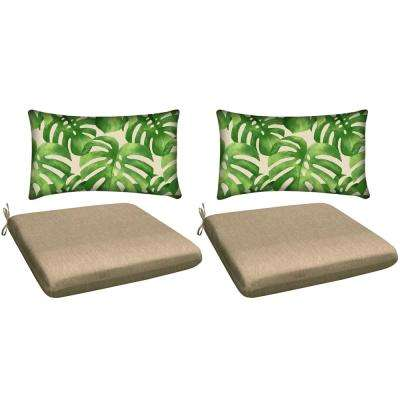 Neutral 4-Piece Outdoor Mix and Match Dining Chair Cushion Set