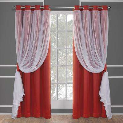 Catarina 52 in. W x 84 in. L Layered Sheer Blackout Grommet Top Curtain Panel in Spicy Orange (2 Panels)