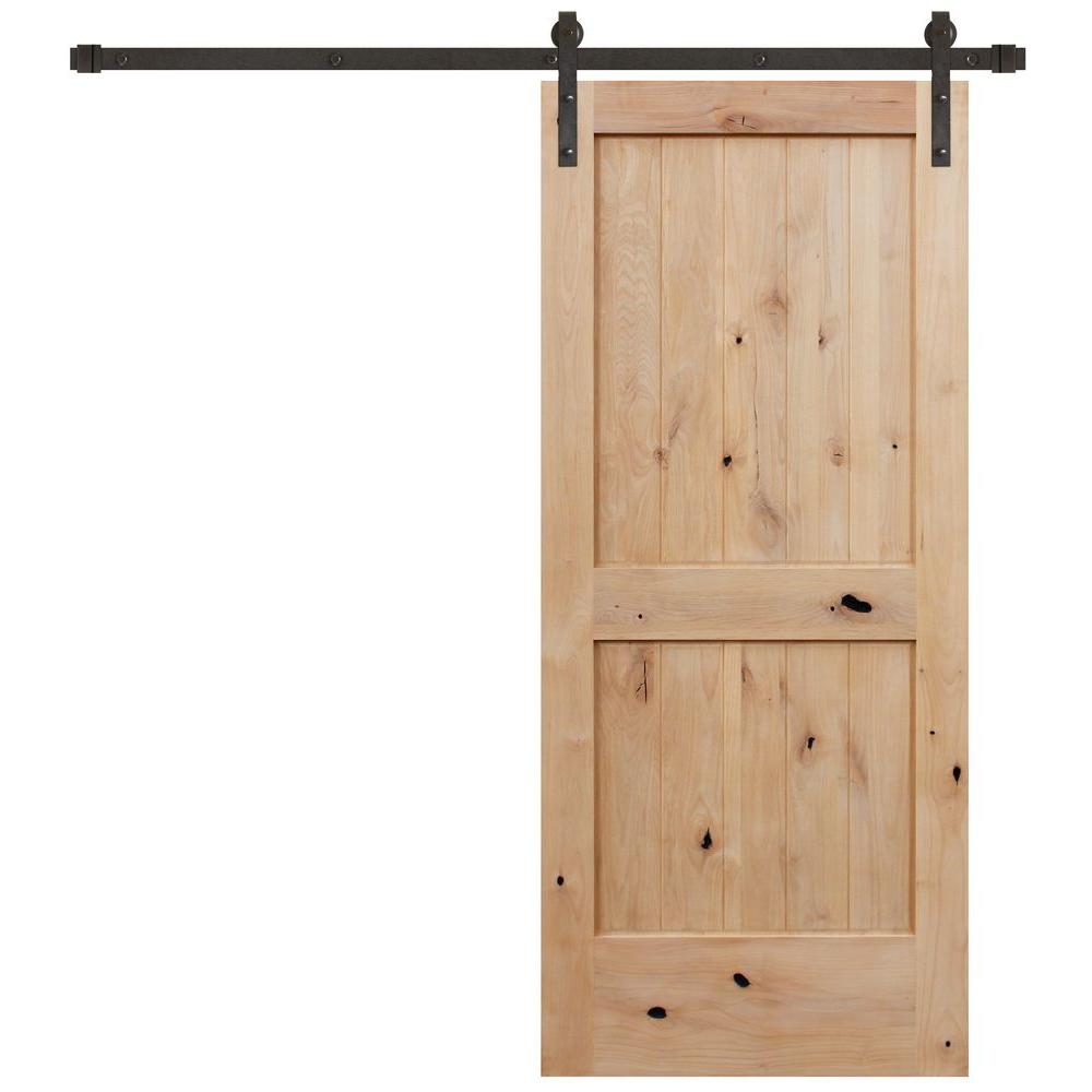 Rustic Unfinished 2 Panel Knotty Alder Interior Wood Barn Door With Bronze Sliding Hardware Kit
