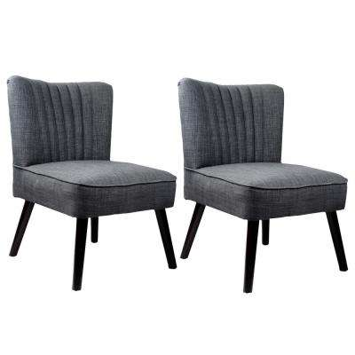 Antonio Grey Fabric Woven Accent Chair (Set of 2)