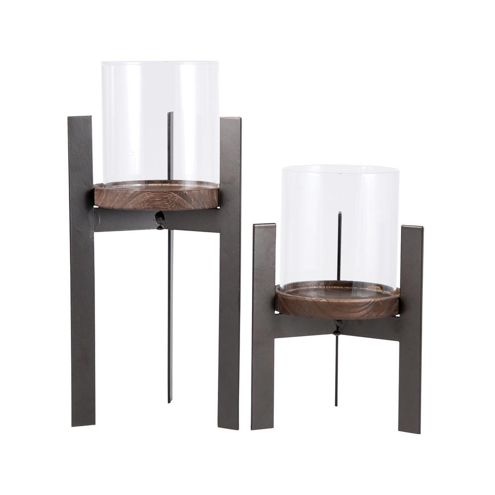 Titan Lighting Stratton 11 in. and 8 in. Rustic Iron, Natural Wood and Clear glass Candle Holders (Set of 2)