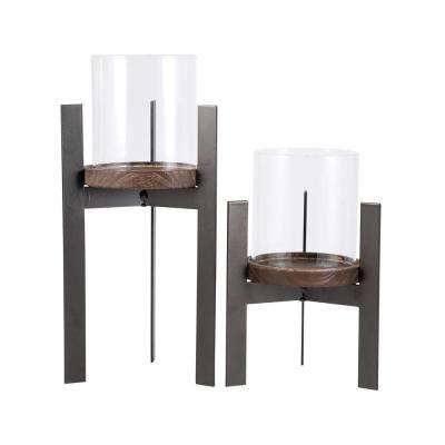 Stratton 11 in. and 8 in. Rustic Iron, Natural Wood and Clear glass Candle Holders (Set of 2)